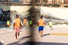 CUBA, HAVANA - MAY 5, 2017: Boys are playing football. Copy space for text. Stock Images