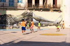 CUBA, HAVANA - MAY 5, 2017: Boys are playing football. Copy space for text. Royalty Free Stock Images