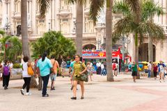 CUBA, HAVANA - MAY 5, 2017: People on Havana street. Copy space for text. Stock Photo