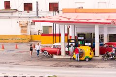 CUBA, HAVANA - MAY 5, 2017: View of the filling station. Copy space for text. stock photography