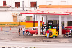 CUBA, HAVANA - MAY 5, 2017: View of the filling station. Copy space for text. Royalty Free Stock Photos