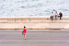 CUBA, HAVANA - MAY 5, 2017: View of the Malecon waterfront. Copy space for text. CUBA, HAVANA - MAY 5, 2017: View of the Malecon waterfront. Copy space for text Stock Photos