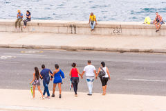 CUBA, HAVANA - MAY 5, 2017: View of the Malecon waterfront. Copy space for text. CUBA, HAVANA - MAY 5, 2017: View of the Malecon waterfront. Copy space for text Royalty Free Stock Photography