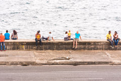 CUBA, HAVANA - MAY 5, 2017: View of the Malecon waterfront. Copy space for text. Royalty Free Stock Photography