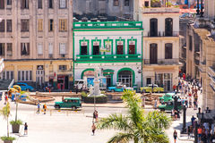 CUBA, HAVANA - MAY 5, 2017: View of the street and buildings. Top view. Copy space. Royalty Free Stock Photos
