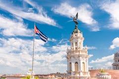 CUBA, HAVANA - MEI 5, 2017: De bouw van het grote theater van Havana Cubaanse Vlag Exemplaarruimte voor tekst Royalty-vrije Stock Foto