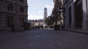 CUBA, HAVANA - OCTOBER 15, 2016: San Francisco square havana cuba city tour Slow motion. stock video