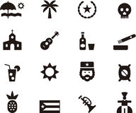 Cuba icon set. Black and white flat glyph icons relating to travel to Cuba Stock Photography