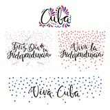 Cuba Independence Day quotes. Set of hand written calligraphic Spanish lettering quotes for Cuba Independence Day with stars, confetti, in flag colors. Isolated Royalty Free Stock Photography