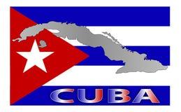 Cuba-kaart-vlag Stock Fotografie