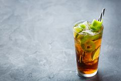 Cuba Libre Alcohol Cocktail Drink With Rum, Cola, Ice, Lime Stock Photography