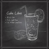 Cuba Libre on black board. Cocktail Cuba Libre with lime and Cola, low-alcohol drink on black board Stock Images
