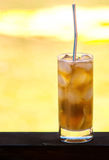 Cuba libre cocktail background the bright sunlight Royalty Free Stock Photo