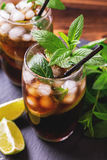 Cuba Libre cocktail with cola, lime, rum and peppermint Royalty Free Stock Photos