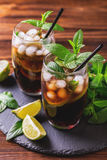 Cuba Libre cocktail with cola, lime, rum and peppermint stock images