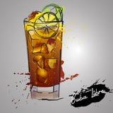 Cuba libre cocktail with color splash Stock Photo