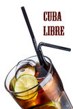 Cuba libre cocktail. Cube libre. Cocktail with soda with rum and lime slices in faceted highball glass Royalty Free Stock Photos