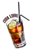 Cuba libre cocktail. Cube libre. Cocktail with soda with rum and lime slices in faceted highball glass Stock Photo