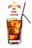 Cuba libre cocktail. Cube libre. Cocktail with soda with rum and lime slices in faceted highball glass Stock Image