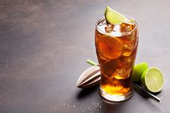 Cuba libre cocktail glass royalty free stock photo