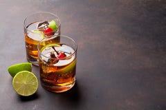 Cuba libre cocktail glasses Stock Photo