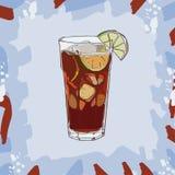 Cuba libre cocktail illustration. Alcoholic bar drink hand drawn vector. Pop art vector illustration