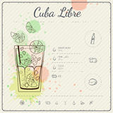 Cuba Libre. Cocktail infographic set. Vector illustration. Colorful watercolor background Stock Photos