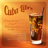 Cuba libre cocktail recipe. With drink in glass with drinking straw on brown background vector illustration Royalty Free Stock Image