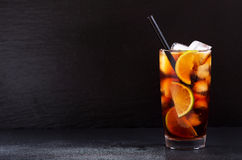 Cuba Libre cocktail with rum, cola and lime Stock Photo