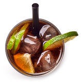 Cuba libre cocktail with rum, cola and lime Stock Photos