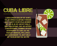 Cuba Libre cocktail with text description. Modern Stock Photos