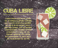 Cuba Libre cocktail with text description. Retro Royalty Free Stock Images