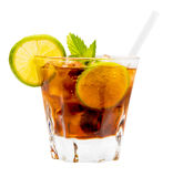 Cuba Libre Drink. Alcoholic drink isolated on white background Royalty Free Stock Image