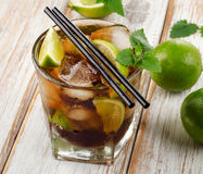 Cuba Libre Drink with mint on  wooden table Royalty Free Stock Image