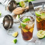 Cuba libre or long island iced tea alcohol cocktail drink Royalty Free Stock Photos