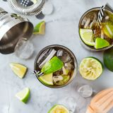 Cuba libre or long island iced tea alcohol cocktail drink Royalty Free Stock Photo