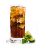 Cuba Libre Longdrink (isolated on white). Cuba Libre Longdrink with brown rum and lime (isolated on white background stock image