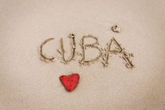 Cuba love in the sand Stock Photo