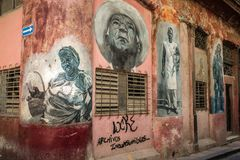 CUBA - 9 maggio 2017: murali della parete delle case Immagine Stock