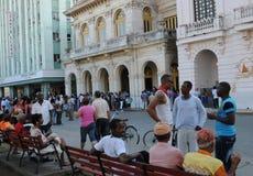 Cuba: The Main square at Santa Clara City on a sunday. stock photo