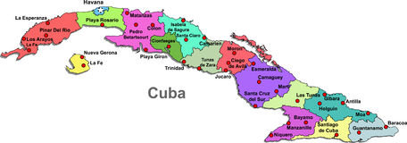 Cuba map. Color map of Cuba with regions on a white background vector illustration