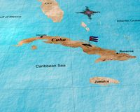 Cuba map. Map cuba with nationally flag Stock Images