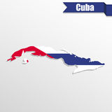 Cuba map with flag inside and ribbon. Cuba  map with flag inside and ribbon Royalty Free Stock Image