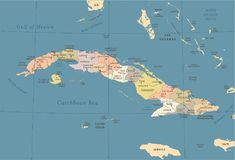 Cuba Map - Vintage Detailed Vector Illustration Stock Illustration