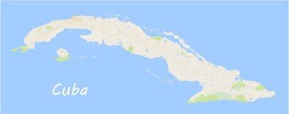 cuba Mapa del vector Mapa geográfico detallado con la designación o Foto de archivo