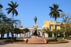 Cuba - Matanzas. Matanzas, Cuba - main square. Palm trees and statue depicting Jose Marti and Liberty Stock Photo