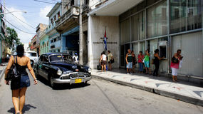 Cuba. Matanzas. Opel preto. Imagens de Stock