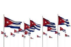 Cuba meraviglioso ha isolato le bandiere disposte nella fila con bokeh e nel posto per il contenuto - tutta l'illustrazione della royalty illustrazione gratis