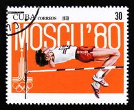 Cuba met een beeld van een bokser, van reeks XX de Zomerolympische spelen, München, 1972, circa 1973 Royalty-vrije Stock Afbeeldingen