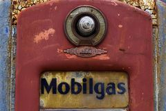 Cuba, Missouri, United States - Circa June 2016 - old rusted vintage Mobil gas pump on route 66 at Wagon Wheel Motel Royalty Free Stock Image